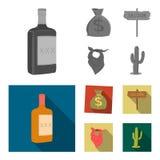 Τσάντα των χρημάτων, αίθουσα, μαντίλι για το κεφάλι κάουμποϋ, κάκτος Άγρια εικονίδια δυτικής καθορισμένα συλλογής στο μονοχρωματι Στοκ Εικόνες