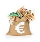 Τσάντα των χρημάτων με διαφορετικό Στοκ Φωτογραφίες