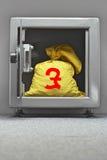 Τσάντα των χρημάτων με το ευρο- σημάδι στο ανοικτό ντουλάπι Στοκ εικόνα με δικαίωμα ελεύθερης χρήσης