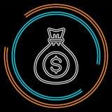 Τσάντα χρημάτων - σύμβολο νομίσματος, εικονίδιο επένδυσης - τραπεζικό σημάδι, τραπεζικά μετρητά ελεύθερη απεικόνιση δικαιώματος
