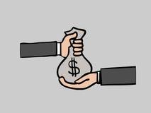 Τσάντα χρημάτων χεριών Στοκ φωτογραφία με δικαίωμα ελεύθερης χρήσης