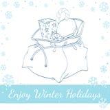Τσάντα Χριστουγέννων Άγιου Βασίλη με τα δώρα και την καραμέλα Στοκ εικόνα με δικαίωμα ελεύθερης χρήσης