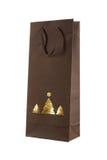 Τσάντα δώρων Χριστουγέννων με τα χρυσά δέντρα christams Στοκ Φωτογραφία
