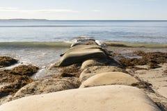Τσάντα Groyne, λιμάνι του Victor, Νότια Αυστραλία άμμου Στοκ φωτογραφία με δικαίωμα ελεύθερης χρήσης