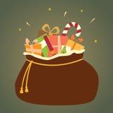 Τσάντα Santa των δώρων Χριστουγέννων Στοκ Εικόνες