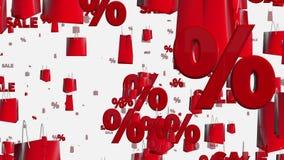 Τσάντες αγορών με την πώληση και percents στο λευκό διανυσματική απεικόνιση