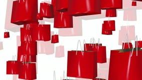 Τσάντες αγορών στο κόκκινο στο λευκό απεικόνιση αποθεμάτων