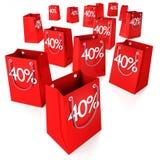 Τσάντες 40% αγορών Στοκ φωτογραφία με δικαίωμα ελεύθερης χρήσης