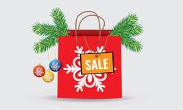 Τσάντες εγγράφου αγορών έκπτωσης Χριστουγέννων Στοκ εικόνα με δικαίωμα ελεύθερης χρήσης