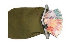 Τσάντες μετρητών με τα χρήματα Στοκ εικόνα με δικαίωμα ελεύθερης χρήσης