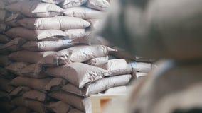Τσάντες σε ένα μεγάλο απόθεμα στο εργοστάσιο ζυμαρικών - αποθήκη εμπορευμάτων φιλμ μικρού μήκους