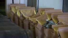 Τσάντες στην αποθήκη εμπορευμάτων στη βιομηχανική κατασκευή απόθεμα βίντεο