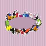 Τσάντες στο ριγωτό υπόβαθρο Στοκ εικόνα με δικαίωμα ελεύθερης χρήσης