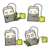 Τσάντες τσαγιού κινούμενων σχεδίων Διανυσματικοί κωμικοί χαρακτήρες κινούμενων σχεδίων Στοκ Εικόνες
