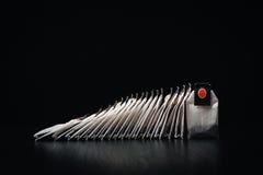 Τσάντες τσαγιού σε μια σκοτεινή στάση υποβάθρου σε μια σειρά Στοκ Φωτογραφίες