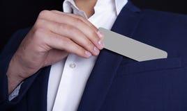 Τσέπη επαγγελματικών καρτών επιχειρηματιών στοκ φωτογραφία