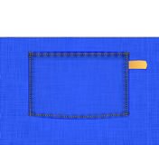 Τσέπη στο μπλε απλό ύφασμα Στοκ Φωτογραφία