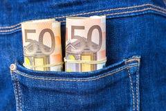 Τσέπη τζιν παντελόνι με πενήντα ευρο- σημειώσεις Στοκ φωτογραφία με δικαίωμα ελεύθερης χρήσης