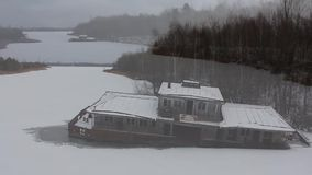 Τσέρνομπιλ Pripyat βηρύλλιο Ποταμός copter Χειμώνας 2014 απόθεμα βίντεο