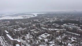 Τσέρνομπιλ Pripyat εναέρια όψη Χειμώνας copter απόθεμα βίντεο