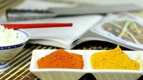 Τσίλι, turmeric, σκόνη πιπεροριζών με την κίνηση καμερών απόθεμα βίντεο