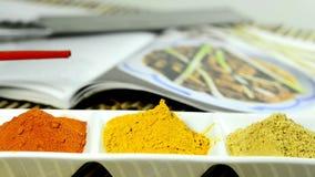 Τσίλι, turmeric, σκόνη πιπεροριζών με την κίνηση καμερών φιλμ μικρού μήκους