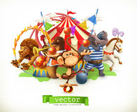 Τσίρκο, αστεία ζώα διάνυσμα Στοκ Φωτογραφία