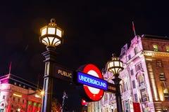 Τσίρκο Piccadilly στο Λονδίνο, UK, τη νύχτα Στοκ εικόνα με δικαίωμα ελεύθερης χρήσης