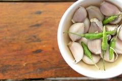 Τσίλι και garlics Στοκ Φωτογραφίες