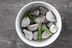 Τσίλι και garlics Στοκ εικόνες με δικαίωμα ελεύθερης χρήσης