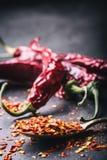Τσίλι Πιπέρια τσίλι Διάφορα ξηρά πιπέρια τσίλι και συντριμμένα πιπέρια σε ένα παλαιό κουτάλι που ανατρέπεται γύρω συστατικά μεξικ Στοκ Φωτογραφία