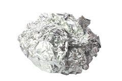 Τσαλακωμένο φύλλο αλουμινίου κασσίτερου που απομονώνεται Στοκ Φωτογραφίες