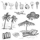 τσαντών παραλιών σανδάλια άμμου σακακιών που τίθενται διογκώσιμα διανυσματική απεικόνιση