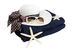 τσαντών παραλιών σανδάλια άμμου σακακιών που τίθενται διογκώσιμα Στοκ Εικόνα