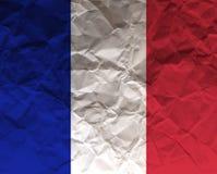 Τσαλακωμένη η Γαλλία κατασκευασμένη σημαία εγγράφου - Στοκ Εικόνες
