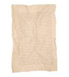 Τσαλακωμένο καφετί έγγραφο γραμμών σημειωματάριων που απομονώνεται στο λευκό Στοκ Εικόνες