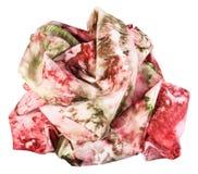 Τσαλακωμένο μαντίλι μεταξιού με την αφηρημένη κόκκινη διακόσμηση Στοκ Φωτογραφία