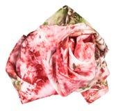 Τσαλακωμένο μαντίλι μεταξιού με το αφηρημένο κόκκινο σχέδιο Στοκ Εικόνες