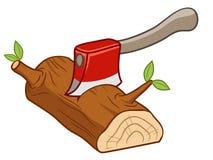 Τσεκούρι που τίθεται στην ξυλεία Στοκ Φωτογραφία