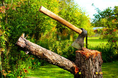 Τσεκούρι σε ένα κολόβωμα σε έναν κήπο στοκ φωτογραφία με δικαίωμα ελεύθερης χρήσης