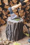 Τσεκούρι woodsheds ανησυχιών κολοβωμάτων στοκ εικόνες