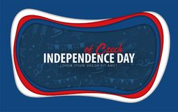 τσεχικά Ευχετήρια κάρτα ημέρας της ανεξαρτησίας το έγγραφο έκοψε το ύφος ελεύθερη απεικόνιση δικαιώματος