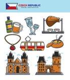 Τσεχικά ορόσημα τουρισμού ταξιδιού και διάσημα διανυσματικά εικονίδια επίσκεψης πολιτισμού καθορισμένα απεικόνιση αποθεμάτων