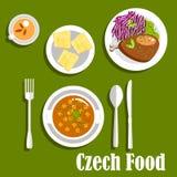 Τσεχικά πιάτα κουζίνας και κέικ επιδορπίων διανυσματική απεικόνιση