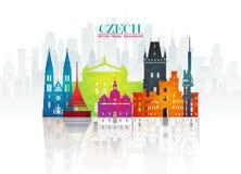 Τσεχικά σφαιρικά ταξίδι ορόσημων και υπόβαθρο εγγράφου ταξιδιών σαν συμπαθητικό πρότυπο μερών σχεδίου stiker για να χρησιμοποιήσε ελεύθερη απεικόνιση δικαιώματος