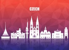 Τσεχικά σφαιρικά ταξίδι ορόσημων και υπόβαθρο εγγράφου ταξιδιών Vecto διανυσματική απεικόνιση