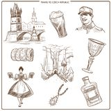 Τσεχικά σύμβολα σκίτσων ταξιδιού και της Πράγας διανυσματικά ελεύθερη απεικόνιση δικαιώματος