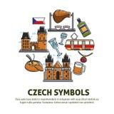Τσεχικά τρόφιμα συμβόλων και αρχιτεκτονική ή πολιτισμός απεικόνιση αποθεμάτων
