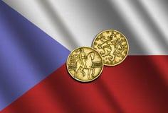Τσεχικά χρήματα στη σημαία ελεύθερη απεικόνιση δικαιώματος