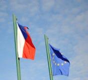 τσεχικές σημαίες της ΕΕ Στοκ Εικόνα